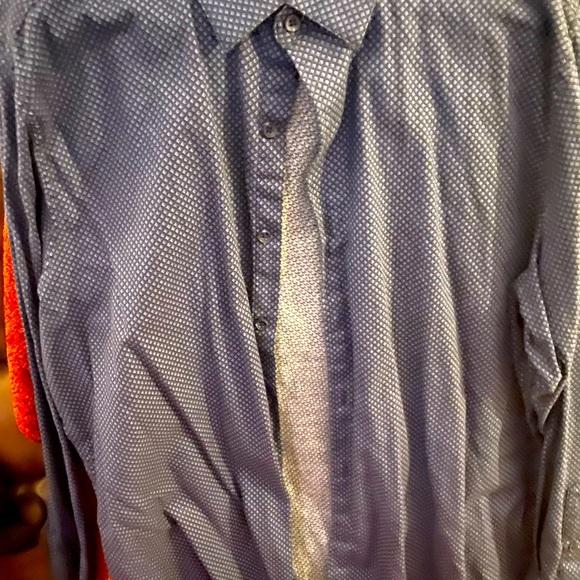 Tasso Elba blue button up dress shirt XL